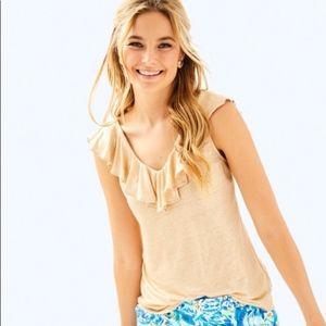 NWT Lilly Pulitzer Gold Shimmery Linen Ruffle Top